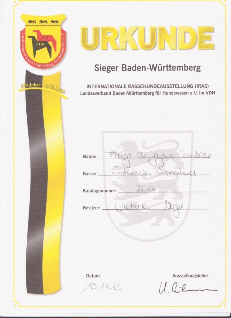 Karlsruhe Internationale SSV (Spéciale de race) classe Champion 1er EXCELLENT CAC VDH CAC SSV CACIB